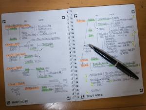 「Shot Note」で通常のノートと同じようにノートを取る。「Shot Note」ではカラーでの取り込みが可能なので、蛍光ペンなどを使ってもよい。