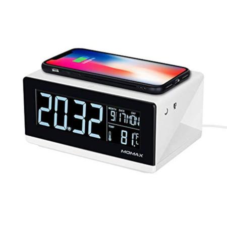 4b57113600 ・MOMAX 2IN1 qiワイヤレス充電器 目覚まし時計 アラームクロック 多機能 置くだけ充電 時間日付温度 デスク時計 スヌーズ  LED時間表示iPhoneXs/iPhoneXR/iPhoneXs ...